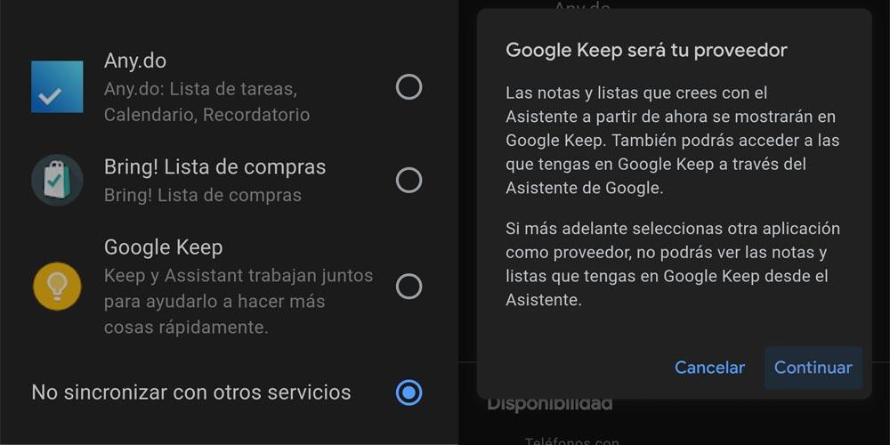 Elegir Google Keep en el asistente de Google
