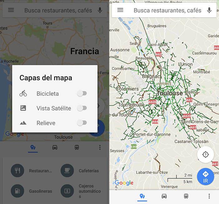 Google Maps capa bici