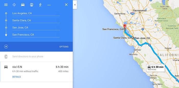 Google Maps multiples destinos