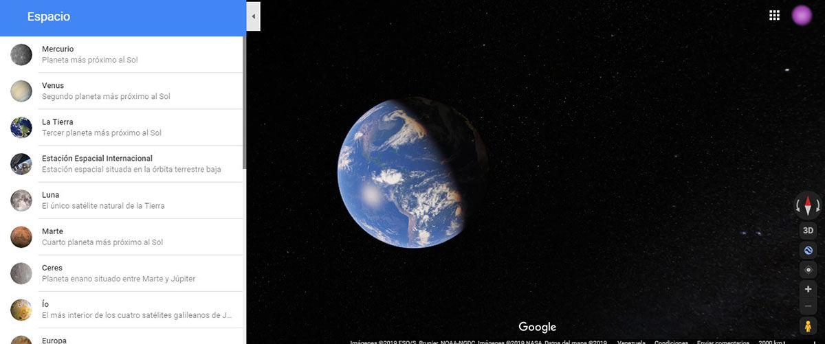 Google Maps planetas