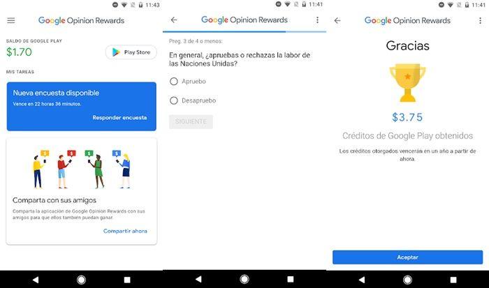 Google Opinion Reward gana dinero para la Play Store