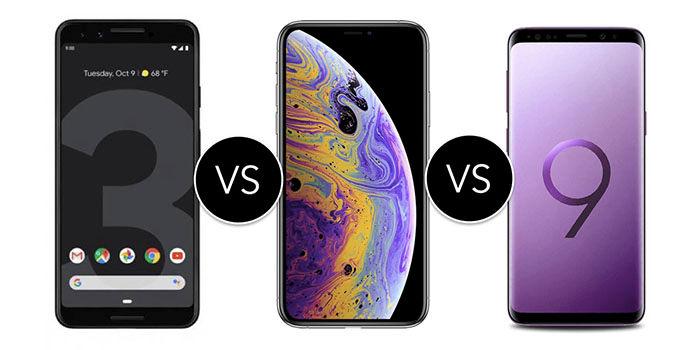 Google Pixel 3 vs iPhone XS vs Galaxy S9 cual es el mejor