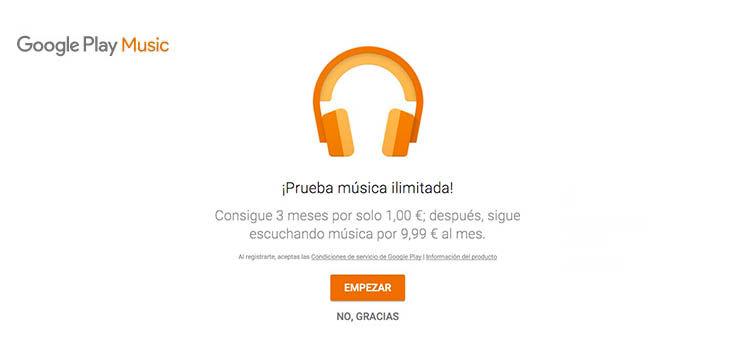 Google Play Music 3 meses 1 euro