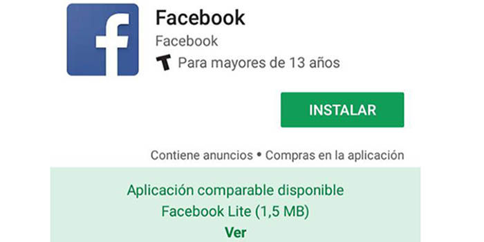 Google Play te recomienda la version lite de Facebook