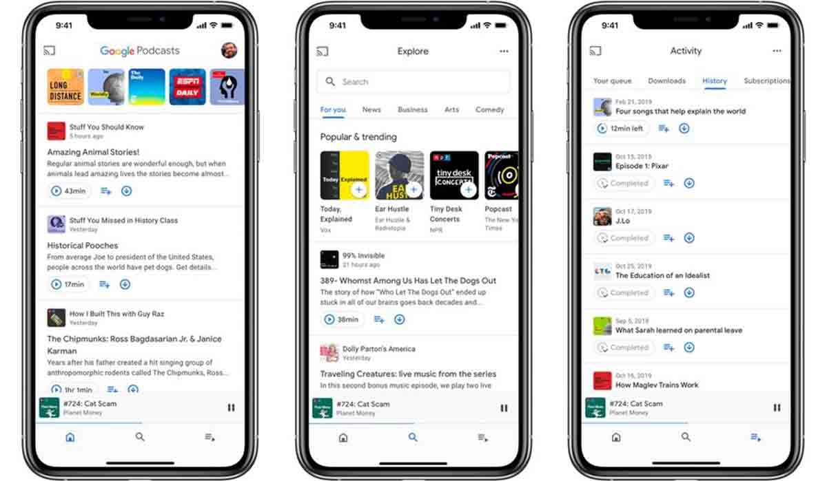Google Podcast app modo conducción