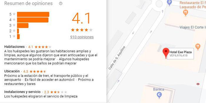 Valoraciones y comentarios en Google Maps