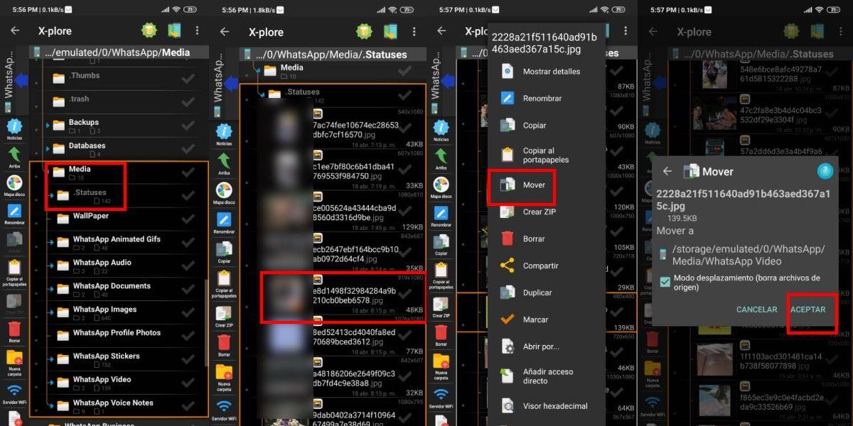 Guarda los estados de WhatsApp con administrador de archivos