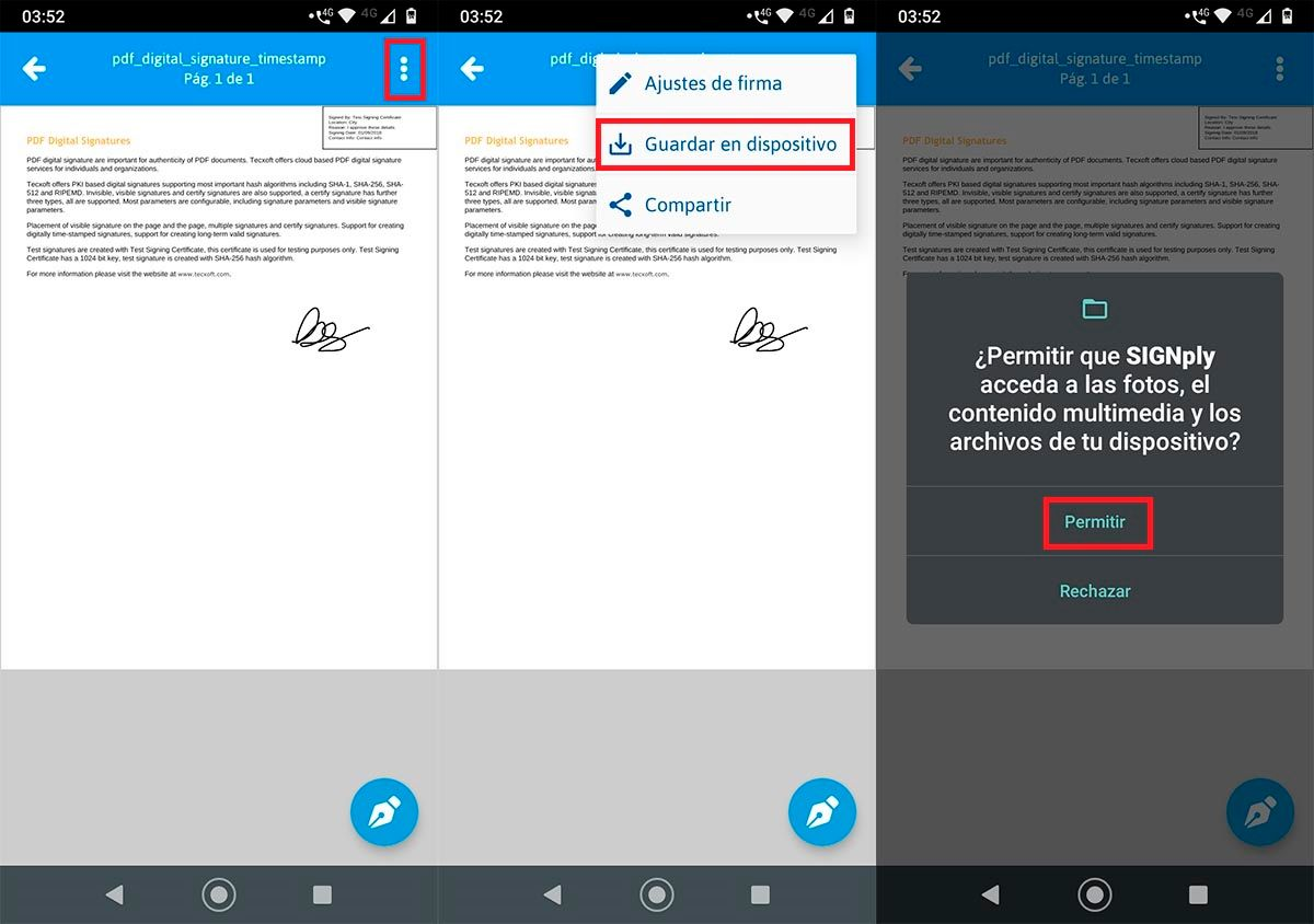Guardar PDF firmado Android