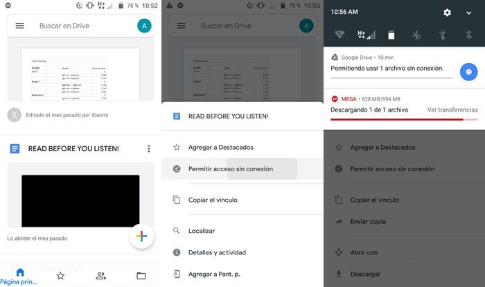 Guardar archivos Google Drive para ver sin Internet