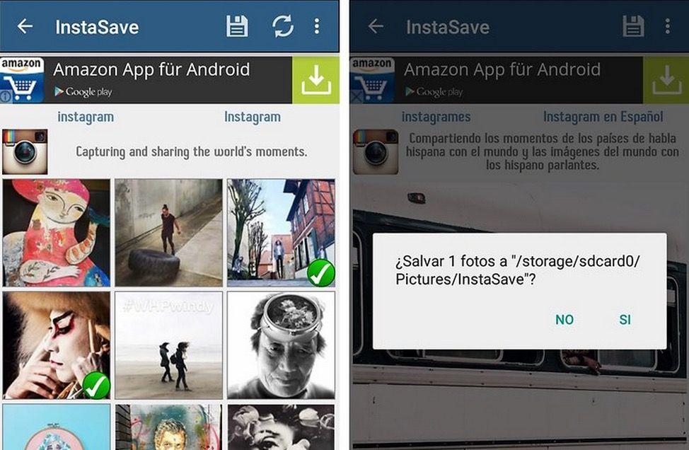 Guardar fotos de Instagram en Android