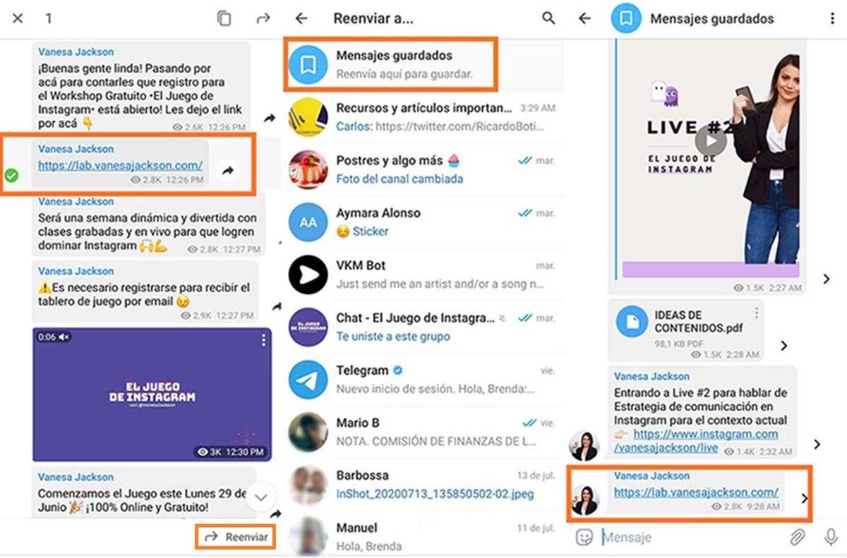 Guardar mensajes en Telegram