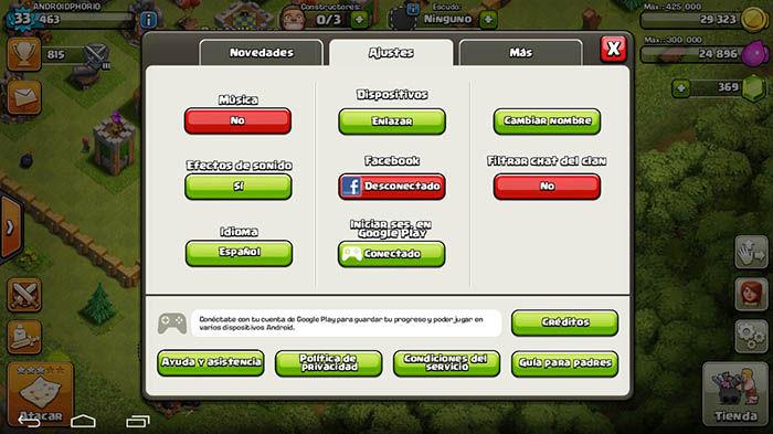 Guardar partida Clash of Clans