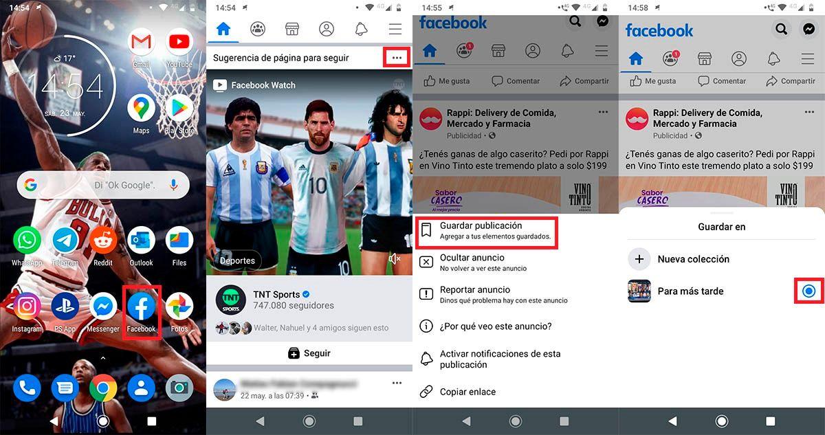 Guardar publicaciones Facebook para ver mas tarde