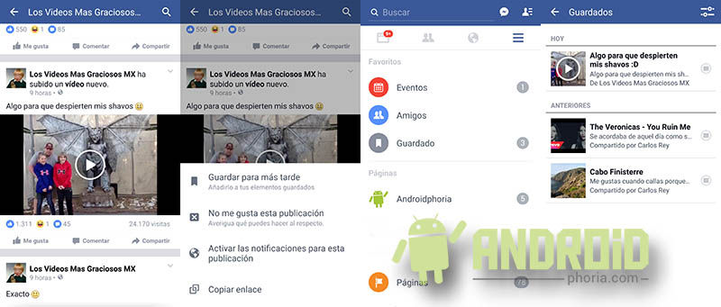 Guardar vídeos de Facebook Android