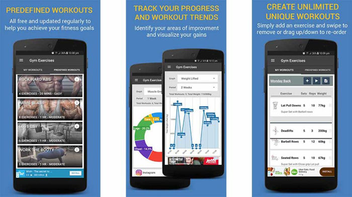Gym Exercises & Workouts ejercicios para Android