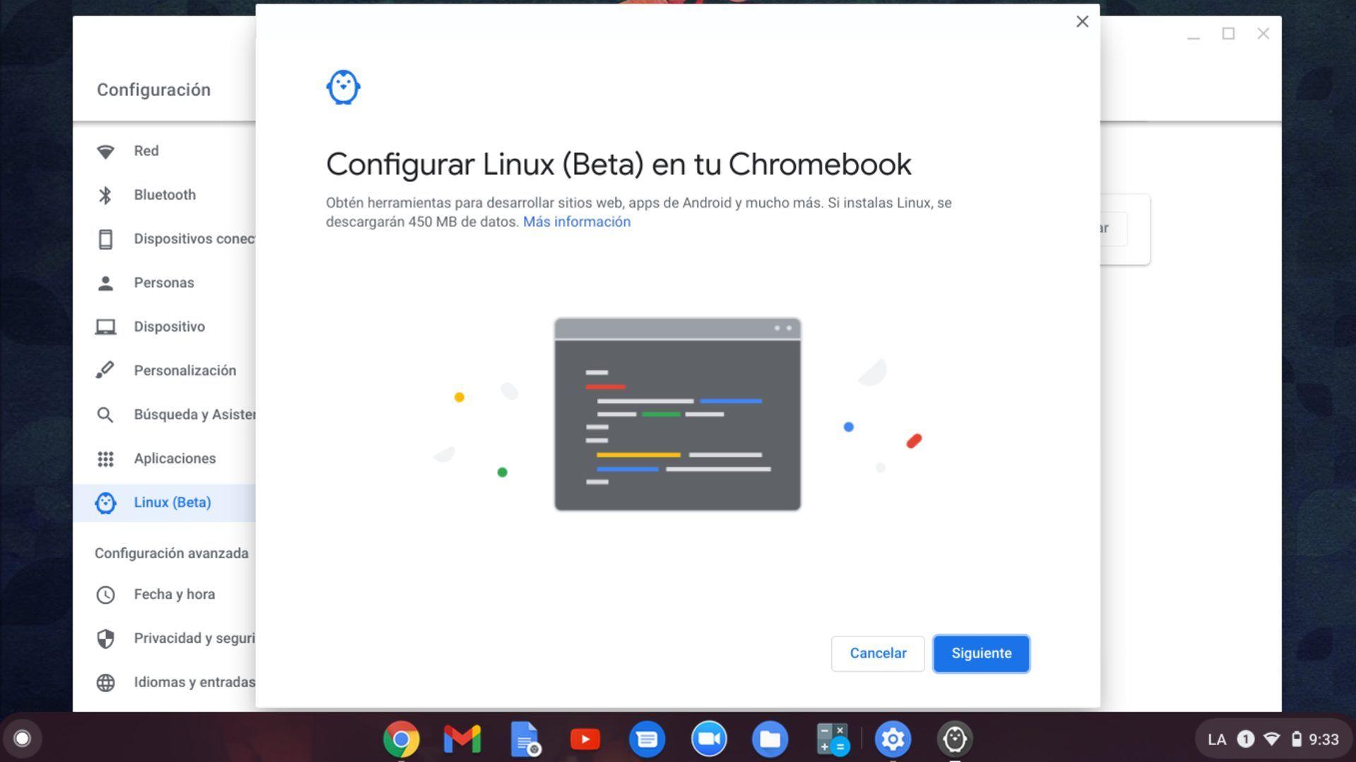Habilita Linux en Chrome OS