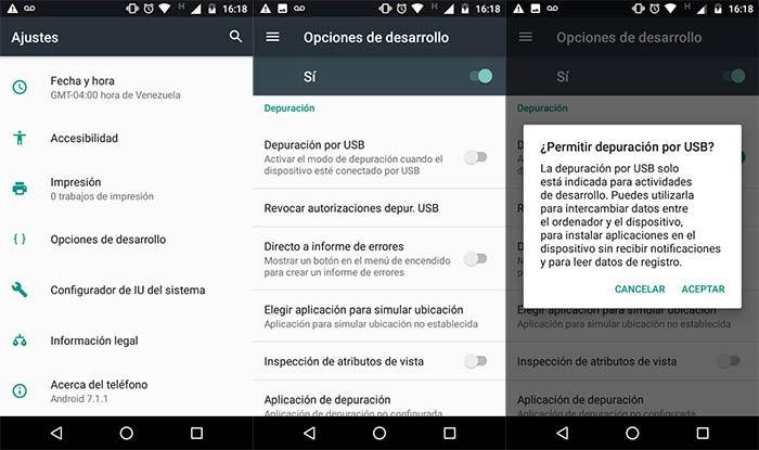 Habilitar depuracion USB en Android