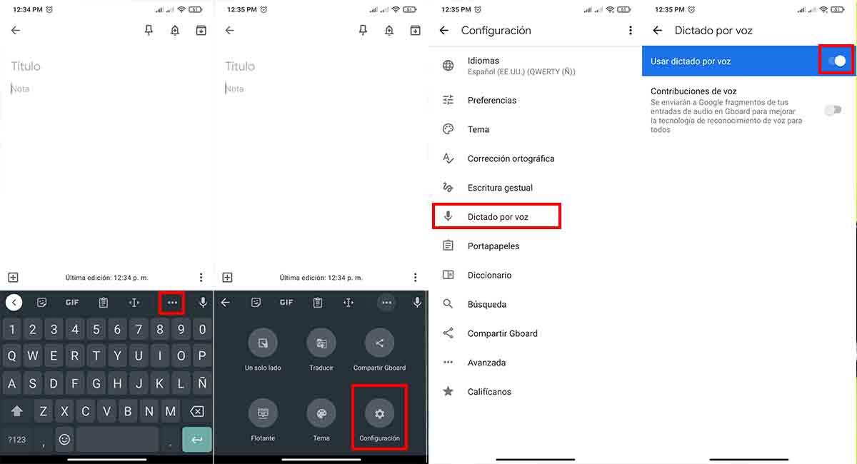 Habilitar escritura por voz Android