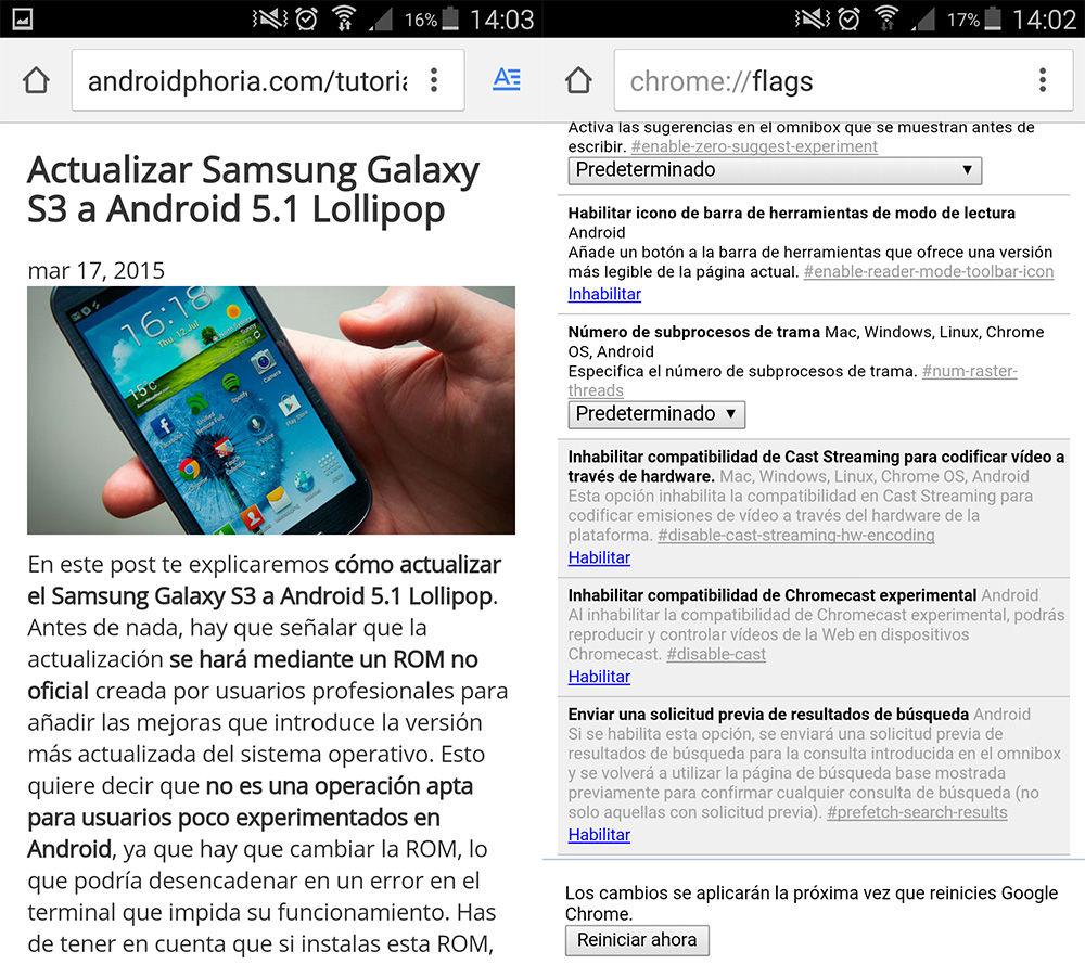 Habilitar modo lectura en Chrome para Android