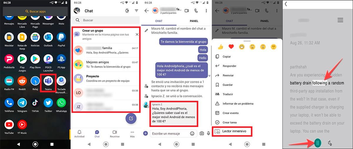 Hacer que Microsoft Teams lea texto movil