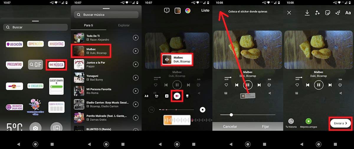 Hacer trend de Spotify en Instagram Android