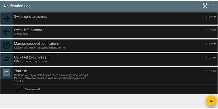 Historial notificaciones Android