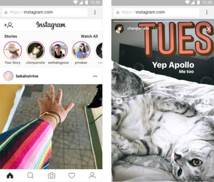 Historias de instagram en su pagina web oficial