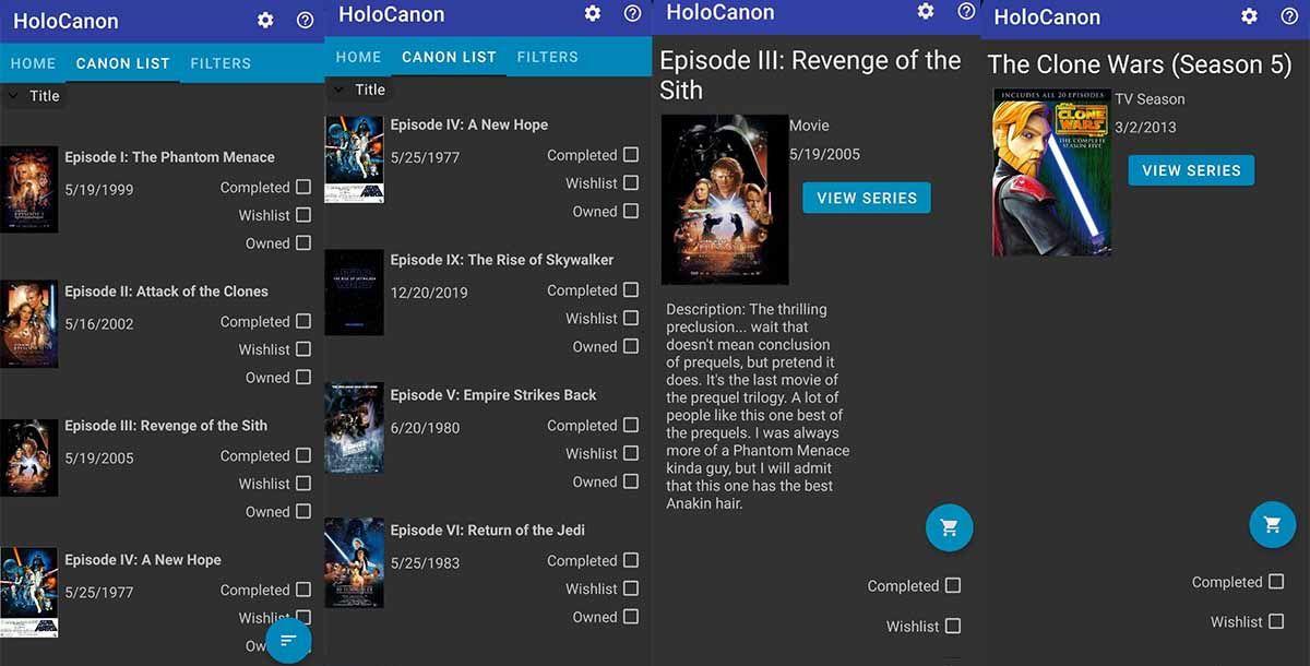 HoloCanon la app que recopila todo el canon de Star Wars