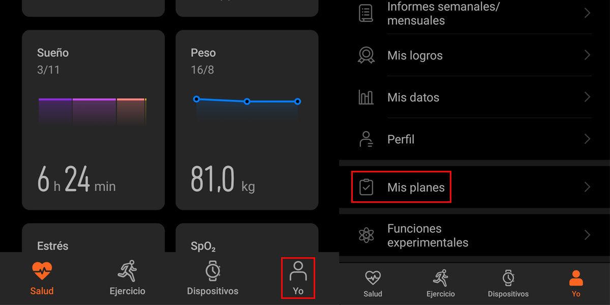 Acceder a Mis planes en Huawei Salud