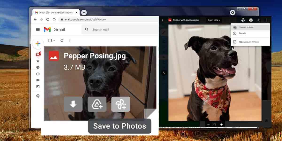 Imágenes desde Gmail a Google Fotos