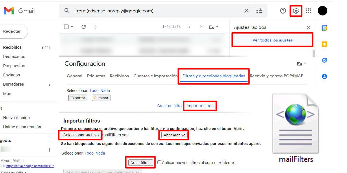 Importar filtros automáticos de Gmail en otras cuentas muy fácilmente