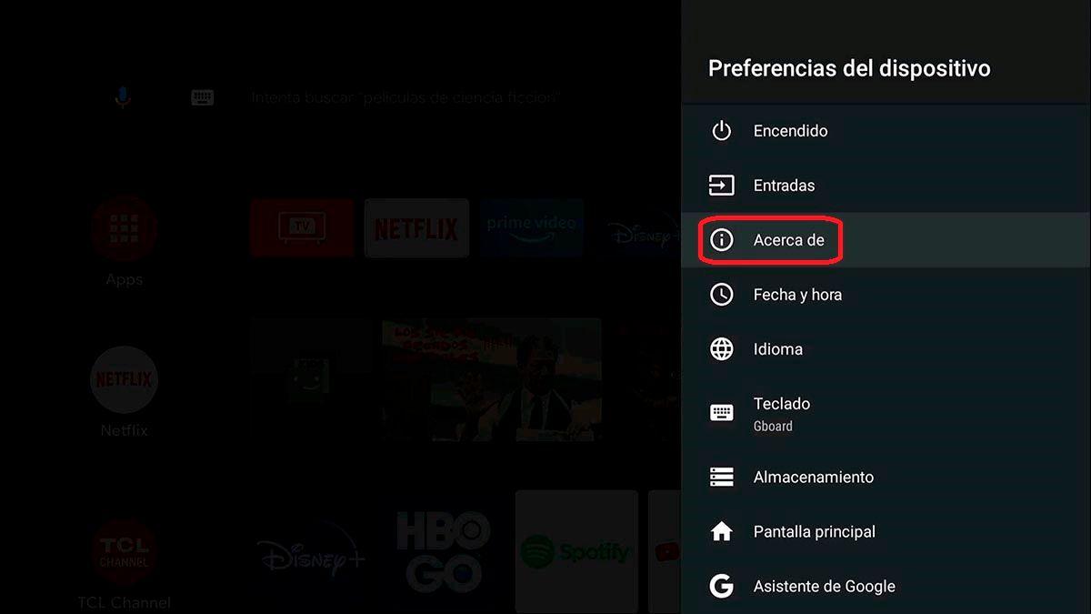 Informacion dispositivo Android TV