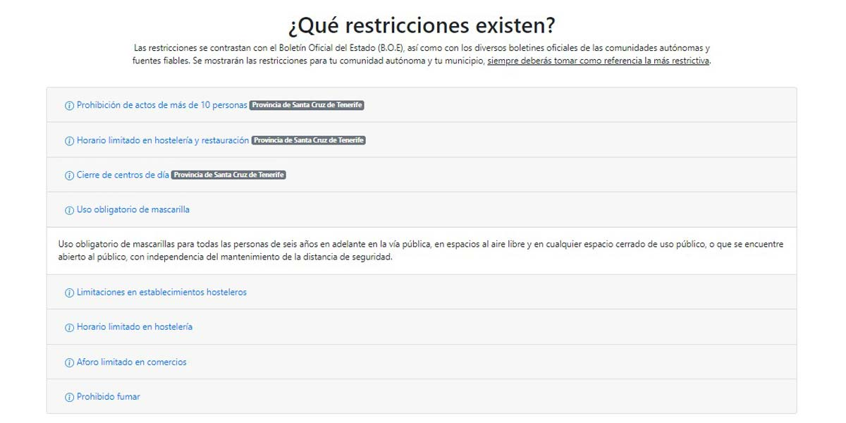 Lista de restricciones en la web QueCovid