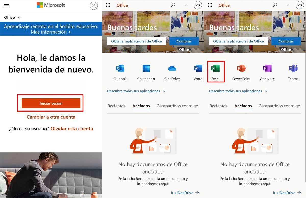 Inicia sesión cuenta de Microsoft web Office