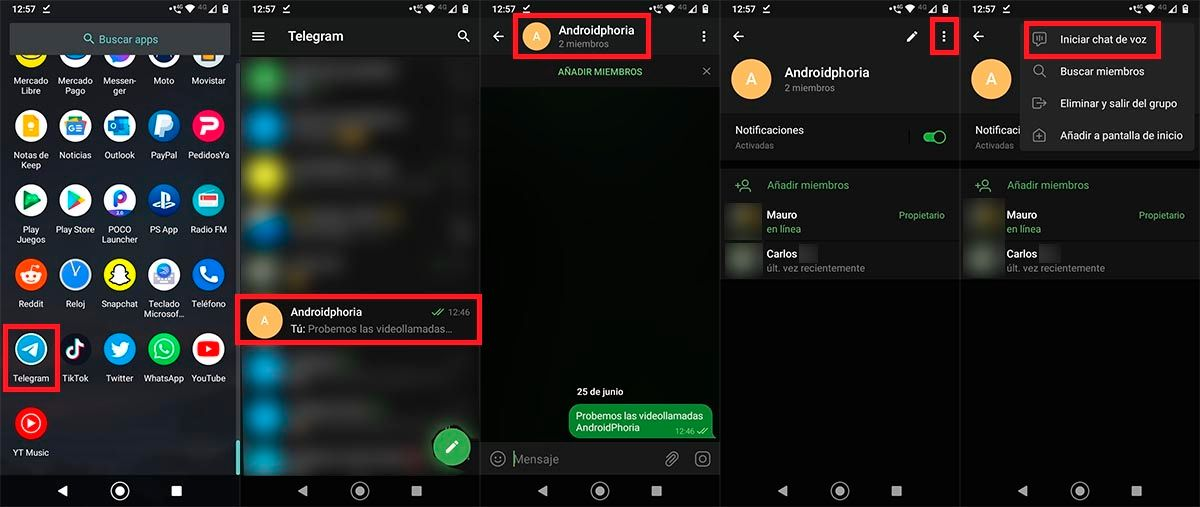 Iniciar videollamada grupal en Telegram