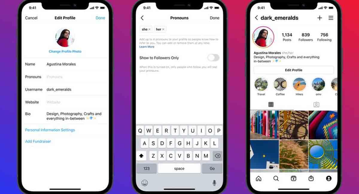Instagram acepta pronombres en perfiles