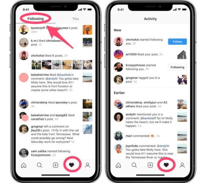 Instagram elimina pestana siguiendo