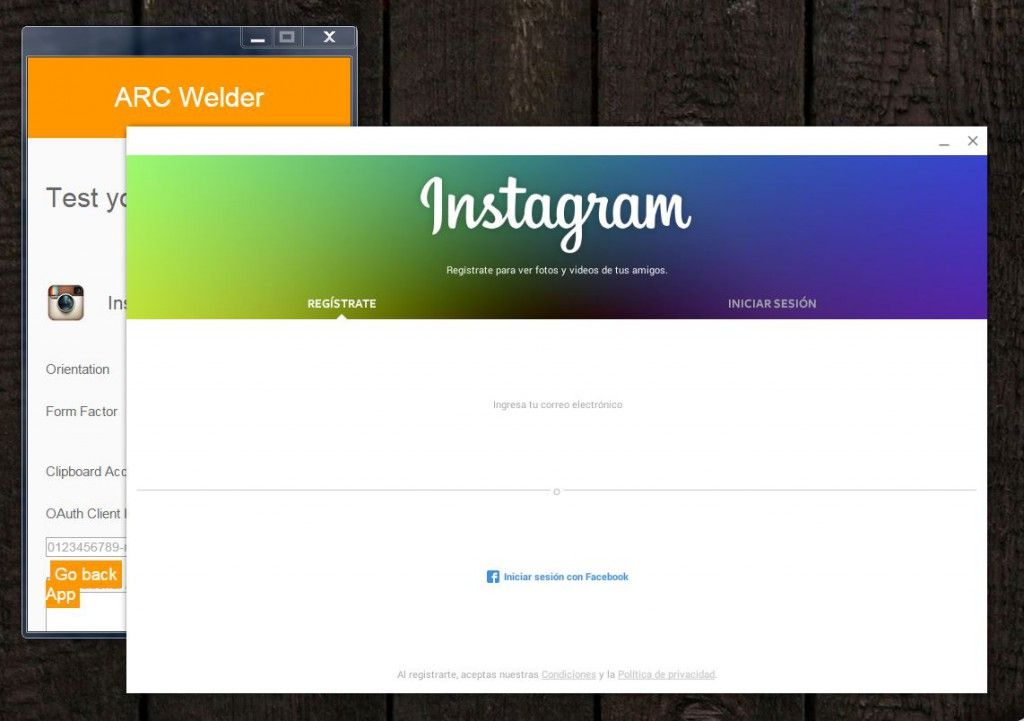 Instagram en ARC Welder