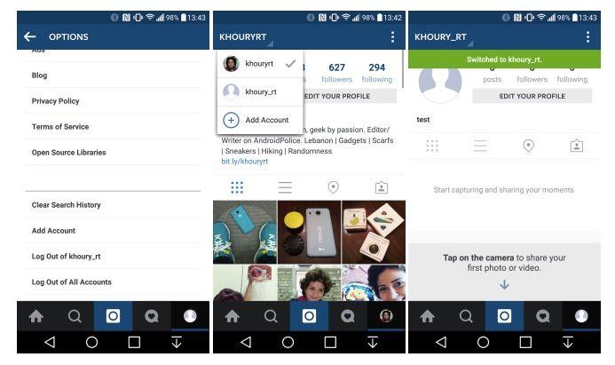 Instagram soporta varias cuentas en Android