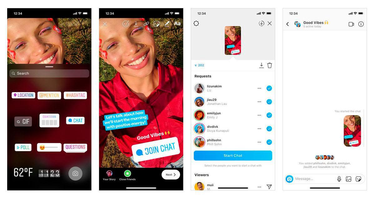 Instagram sticker para chatear