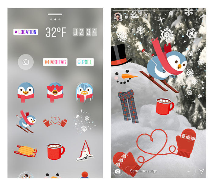 Instagram stickers Navidad 2017