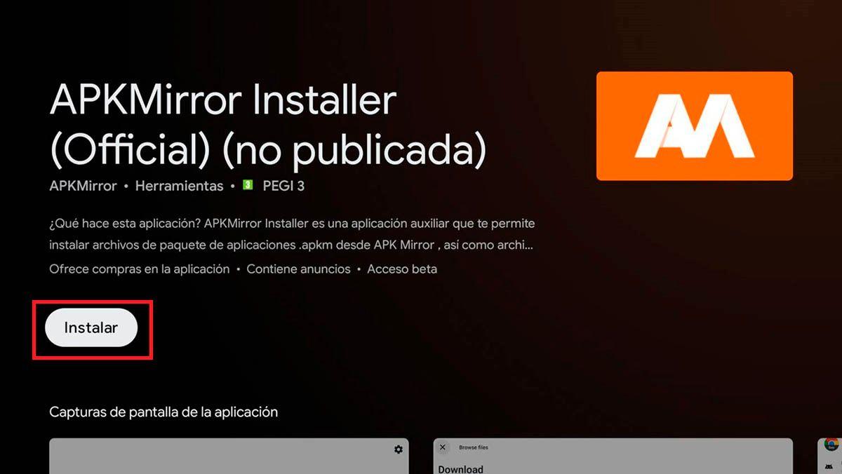 Instalar APKMirror Android TV