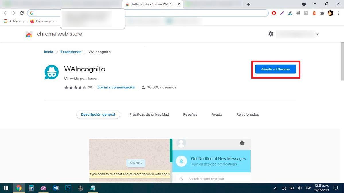 Instalar WAIncognito en Chrome