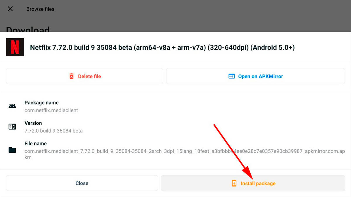 Instalar aplicaciones APKMirror Installer Android TV