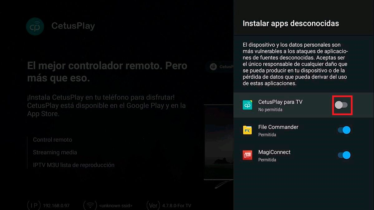 Instalar apps desconocidas CetusPlay Android TV