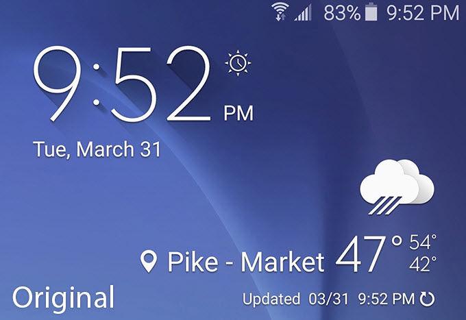 Instalar el widget del tiempo del Galaxy S61