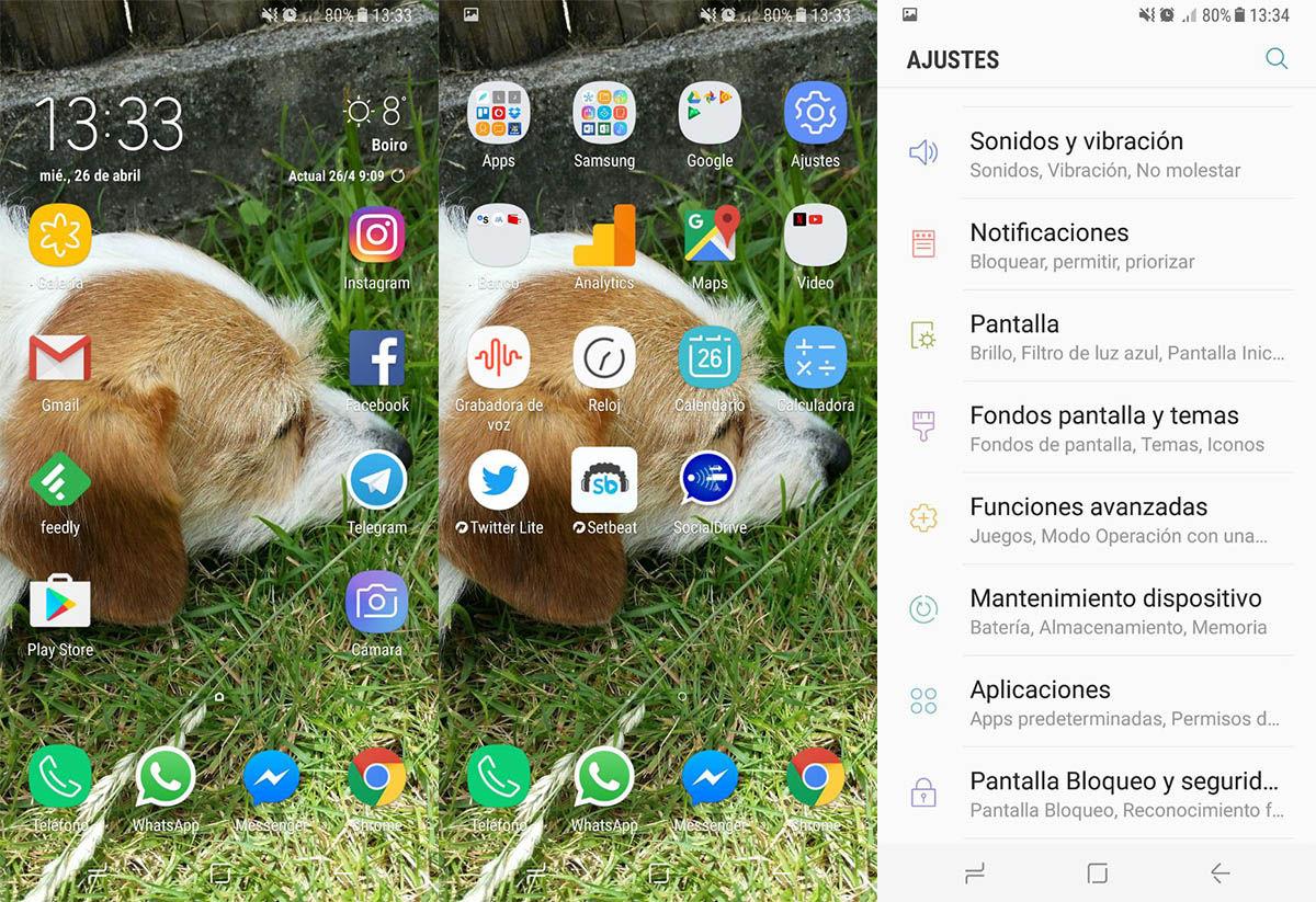 Interfaz Galaxy S8
