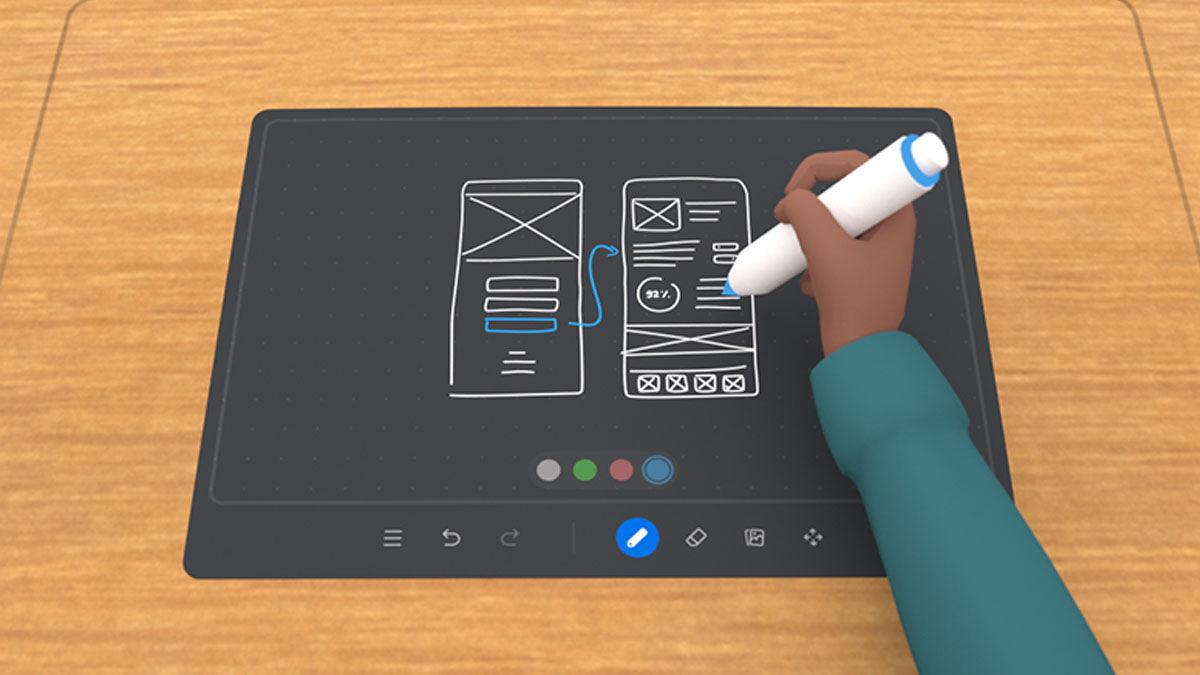 Interactúa con tu entorno de trabajo virtual usando las manos en tus reunions de AR en Horizon Workrooms