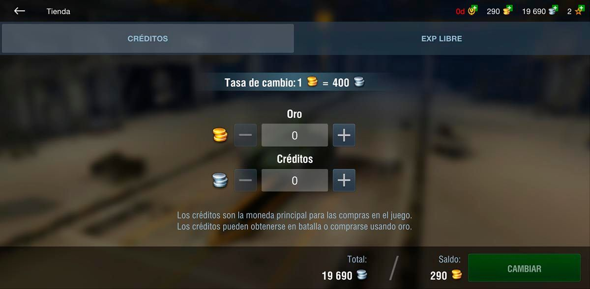 Intercambiar oro por creditos World of Tanks Blitz
