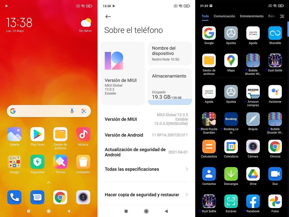 Interfaz Redmi Note 10 5G